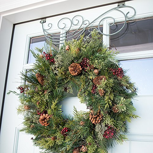 30 In Artificial Pre Lit LED Decorated Christmas Wreath Rustic Pine And Berry Decorations 50 Super Mini Warm Clear Colored Lights With Timer Battery Pack For Indoor And Outdoor Use 0 0