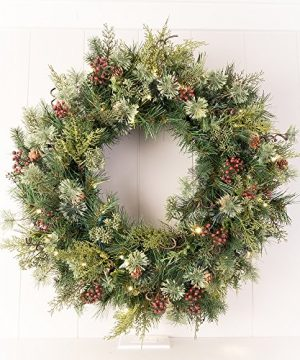 30 In Artificial Pre Lit LED Decorated Christmas Wreath Rustic Pine And Berry Decorations 50 Super Mini Warm Clear Colored Lights With Timer Battery Pack For Indoor And Outdoor Use 0 2 300x360