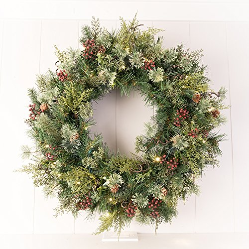 30 In Artificial Pre Lit LED Decorated Christmas Wreath Rustic Pine And Berry Decorations 50 Super Mini Warm Clear Colored Lights With Timer Battery Pack For Indoor And Outdoor Use 0 2