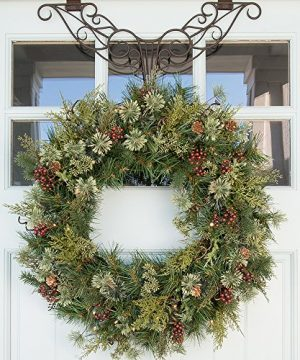 30 In Artificial Pre Lit LED Decorated Christmas Wreath Rustic Pine And Berry Decorations 50 Super Mini Warm Clear Colored Lights With Timer Battery Pack For Indoor And Outdoor Use 0 3 300x360