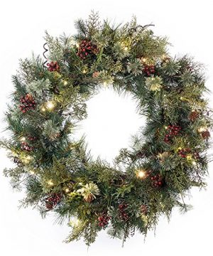 30 In Artificial Pre Lit LED Decorated Christmas Wreath Rustic Pine And Berry Decorations 50 Super Mini Warm Clear Colored Lights With Timer Battery Pack For Indoor And Outdoor Use 0 300x360