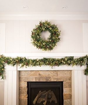 30 In Artificial Pre Lit LED Decorated Christmas Wreath Rustic Pine And Berry Decorations 50 Super Mini Warm Clear Colored Lights With Timer Battery Pack For Indoor And Outdoor Use 0 4 300x360