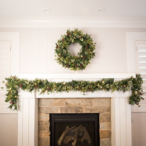 30 In Artificial Pre Lit LED Decorated Christmas Wreath Rustic Pine And Berry Decorations 50 Super Mini Warm Clear Colored Lights With Timer Battery Pack For Indoor And Outdoor Use 0 4