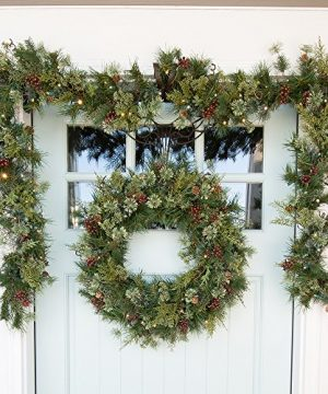 30 In Artificial Pre Lit LED Decorated Christmas Wreath Rustic Pine And Berry Decorations 50 Super Mini Warm Clear Colored Lights With Timer Battery Pack For Indoor And Outdoor Use 0 5 300x360