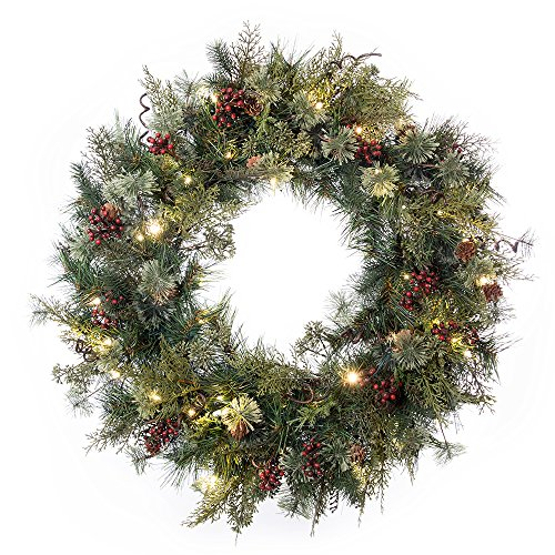 30 In Artificial Pre Lit LED Decorated Christmas Wreath Rustic Pine And Berry Decorations 50 Super Mini Warm Clear Colored Lights With Timer Battery Pack For Indoor And Outdoor Use 0