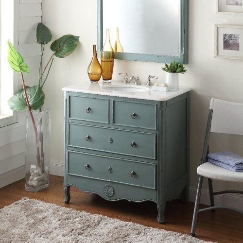 34 Cottage Look Daleville Bathroom Sink Vanity Model HF081Y Vintage Mint Blue 0 0