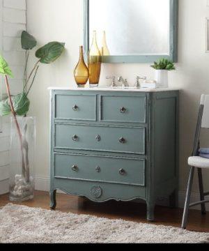 34 Cottage Look Daleville Bathroom Sink Vanity Model HF081Y Vintage Mint Blue 0 1 300x360