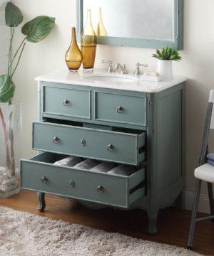 34 Cottage Look Daleville Bathroom Sink Vanity Model HF081Y Vintage Mint Blue 0 2 300x360