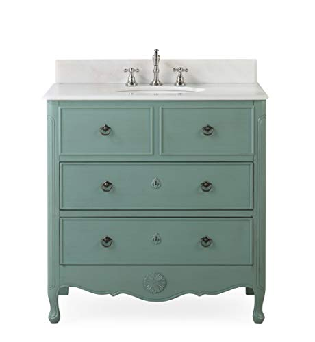 34 Cottage Look Daleville Bathroom Sink Vanity Model HF081Y Vintage Mint Blue 0 4