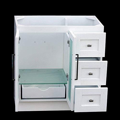 36 Bathroom Solid Wood Vanity Cabinet Black Granite Top Vessel Sink B3621WL BK 0 0