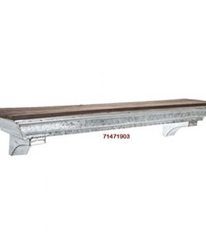 36 Galvanized Metal Industrial Wall Shelf With A Brown Wood Top Farmhouse Country Rustic Collection 0 300x360