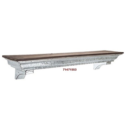 36 Galvanized Metal Industrial Wall Shelf With A Brown Wood Top Farmhouse Country Rustic Collection 0