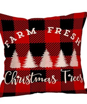 4 Pack Farmhouse Christmas Red Black Buffalo Plaids Throw Pillow Case Have Yourself A Merry Little Christmas Quotes Deer Snowflake Xmas Trees Holiday Decorative Cushion Cover Cotton Linen 18x18 Inch 0 0 300x360