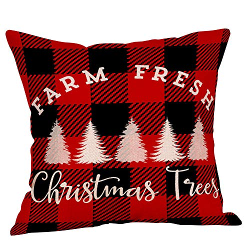 4 Pack Farmhouse Christmas Red Black Buffalo Plaids Throw Pillow Case Have Yourself A Merry Little Christmas Quotes Deer Snowflake Xmas Trees Holiday Decorative Cushion Cover Cotton Linen 18x18 Inch 0 0