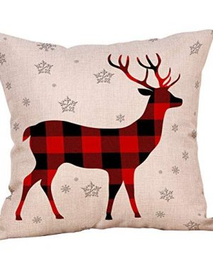 4 Pack Farmhouse Christmas Red Black Buffalo Plaids Throw Pillow Case Have Yourself A Merry Little Christmas Quotes Deer Snowflake Xmas Trees Holiday Decorative Cushion Cover Cotton Linen 18x18 Inch 0 1 300x360