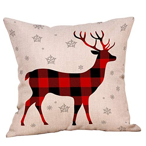 4 Pack Farmhouse Christmas Red Black Buffalo Plaids Throw Pillow Case Have Yourself A Merry Little Christmas Quotes Deer Snowflake Xmas Trees Holiday Decorative Cushion Cover Cotton Linen 18x18 Inch 0 1