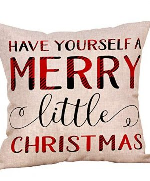 4 Pack Farmhouse Christmas Red Black Buffalo Plaids Throw Pillow Case Have Yourself A Merry Little Christmas Quotes Deer Snowflake Xmas Trees Holiday Decorative Cushion Cover Cotton Linen 18x18 Inch 0 2 300x360