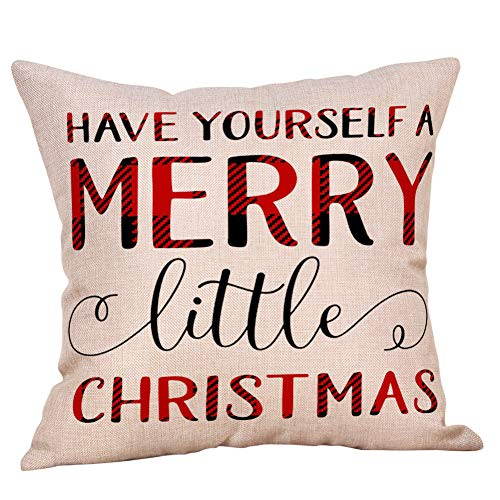 4 Pack Farmhouse Christmas Red Black Buffalo Plaids Throw Pillow Case Have Yourself A Merry Little Christmas Quotes Deer Snowflake Xmas Trees Holiday Decorative Cushion Cover Cotton Linen 18x18 Inch 0 2