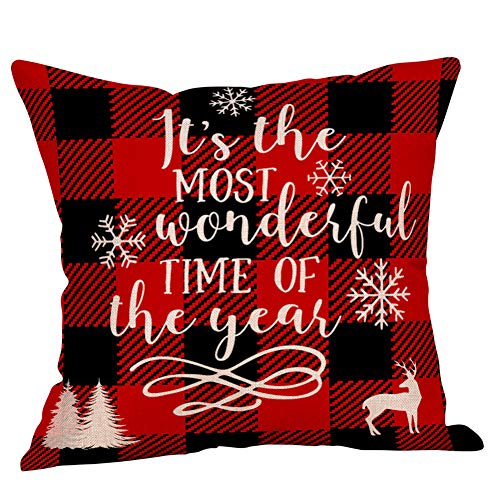 4 Pack Farmhouse Christmas Red Black Buffalo Plaids Throw Pillow Case Have Yourself A Merry Little Christmas Quotes Deer Snowflake Xmas Trees Holiday Decorative Cushion Cover Cotton Linen 18x18 Inch 0 3