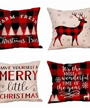 4 Pack Farmhouse Christmas Red Black Buffalo Plaids Throw Pillow Case Have Yourself A Merry Little Christmas Quotes Deer Snowflake Xmas Trees Holiday Decorative Cushion Cover Cotton Linen 18x18 Inch 0 300x360