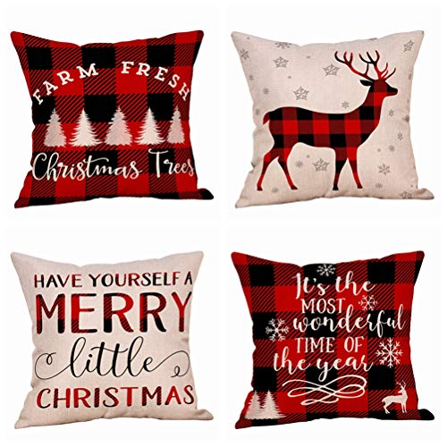 4 Pack Farmhouse Christmas Red Black Buffalo Plaids Throw Pillow Case Have Yourself A Merry Little Christmas Quotes Deer Snowflake Xmas Trees Holiday Decorative Cushion Cover Cotton Linen 18x18 Inch 0