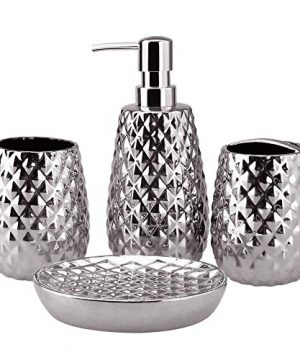 4 Piece Ceramic Bathroom Accessories Set Moroccan Trellis Bathroom Ensemble Complete Sets For Bath Decor Includes Soap Dispenser Pump Toothbrush Holder Tumbler Soap Dish Ideas Home Gift Silver 0 300x360