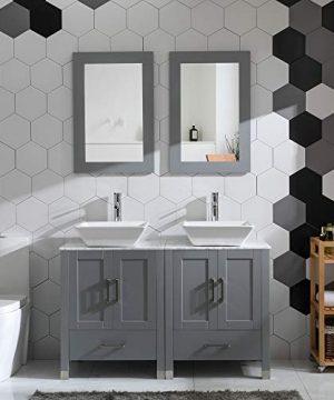 48 Double Sink Bathroom Vanity Cabinet Combo GlassMarble Top Grey Paint Wood WFaucet MirrorDrain Set Solid Wood Marble Top 0 300x360