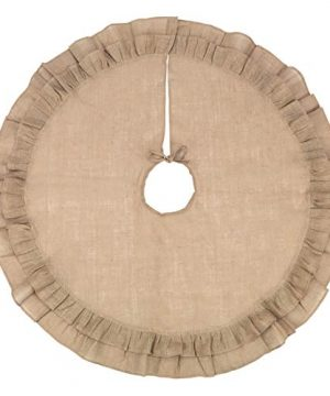 48 Inch Brown Burlap Christmas Tree Skirt 0 300x360