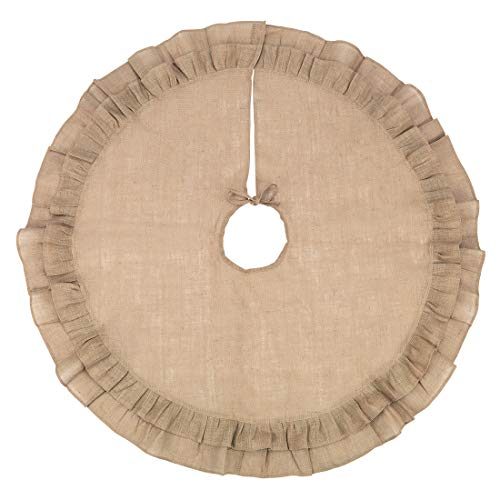 48 Inch Brown Burlap Christmas Tree Skirt 0