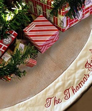 48 Inch Custom Embroidered Burlap Christmas Tree Skirt BONUS Large Zip Storage Bag Put Your Family Name Or Any Text On The Premium Fleece Cross Stitch Border Trim Rustic Farmhouse Decor Gift 0 300x360