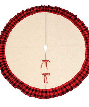 48inch Christmas Tree Skirt Buffalo Plaid Ruffled Burlap Tree Skirt Rustic Xmas Holiday Decoration 0 300x360