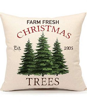 4TH Emotion Farm Fresh Christmas Tree Throw Pillow Cover Farmhouse Green Cushion Case For Sofa Couch 18x18 Inches Cotton Linen 0 300x360