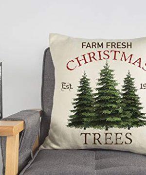 4TH Emotion Farm Fresh Christmas Tree Throw Pillow Cover Farmhouse Green Cushion Case For Sofa Couch 18x18 Inches Cotton Linen 0 5 300x360