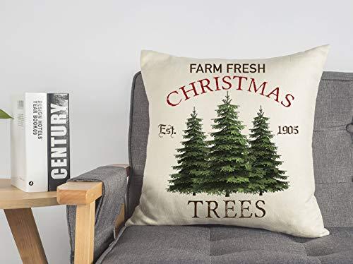 4TH Emotion Farm Fresh Christmas Tree Throw Pillow Cover Farmhouse Green Cushion Case For Sofa Couch 18x18 Inches Cotton Linen 0 5