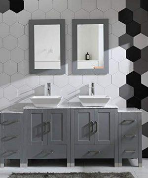 72 Bathroom Vanity Cabinet Double Sink Grey Solid Wood WMarbel Counter Top 0 300x360