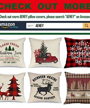 AENEY Christmas Pillow Cover 18x18 For Couch Christmas Tree Farm Fresh Throw Pillow Farmhouse Decorations Home Decor Xmas Decorative Pillowcase Faux Linen Cushion Case Sofa A153 0 5 300x360