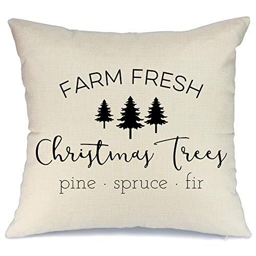 AENEY Farmhouse Christmas Pillow Cover 18x18 inch Farm Fresh Christmas Tree  Throw Pillow for Christmas Decor Farm Sign Christmas Decorations Throw ...