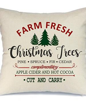 AENEY Christmas Pillow Cover 18x18 For Couch Farm Fresh And Christmas Tree Throw Pillow Farmhouse Decorations Home Decor Xmas Decorative Pillowcase Faux Linen Cushion Case Sofa Red 0 300x360