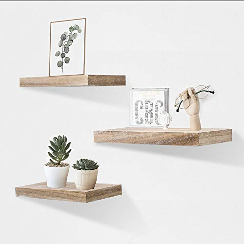AHDECOR Floating Wall Mounted Shelves Set Of 3 Display Rustic Wood Ledge Shelves Wide Panel For Bedroom Office Kitchen Living Room 59 Deep 0