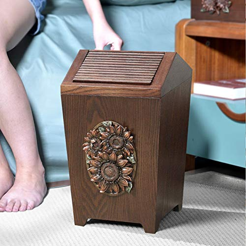 APDISHU Decorative Vintage Wooden Trash Can With Lid And Plastic Inner Wastebasket Small Rustic Garbage Bin For Bedroom Office Home Creative Metal DecorsB1 0 0