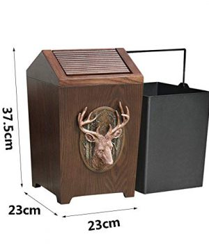 APDISHU Decorative Vintage Wooden Trash Can With Lid And Plastic Inner Wastebasket Small Rustic Garbage Bin For Bedroom Office Home Creative Metal DecorsB1 0 2 300x360