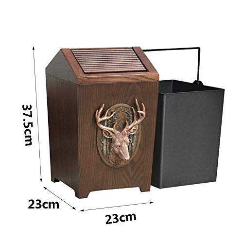 APDISHU Decorative Vintage Wooden Trash Can With Lid And Plastic Inner Wastebasket Small Rustic Garbage Bin For Bedroom Office Home Creative Metal DecorsB1 0 2