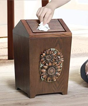 APDISHU Decorative Vintage Wooden Trash Can With Lid And Plastic Inner Wastebasket Small Rustic Garbage Bin For Bedroom Office Home Creative Metal DecorsB1 0 3 300x360