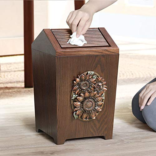 APDISHU Decorative Vintage Wooden Trash Can With Lid And Plastic Inner Wastebasket Small Rustic Garbage Bin For Bedroom Office Home Creative Metal DecorsB1 0 3