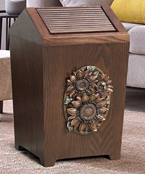 APDISHU Decorative Vintage Wooden Trash Can With Lid And Plastic Inner Wastebasket Small Rustic Garbage Bin For Bedroom Office Home Creative Metal DecorsB1 0 300x360