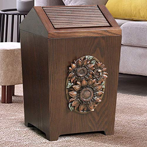 APDISHU Decorative Vintage Wooden Trash Can With Lid And Plastic Inner Wastebasket Small Rustic Garbage Bin For Bedroom Office Home Creative Metal DecorsB1 0
