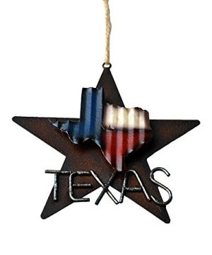 AR Country Store Western Rustic Lone Star 3 D Texas Map Christmas Ornament MetalTin Or Tree Or Wall Hanging 0 1 300x360