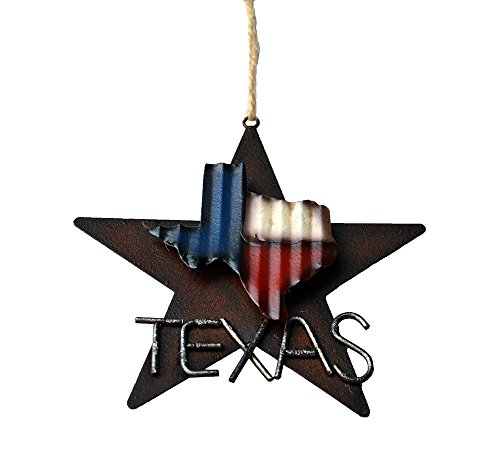AR Country Store Western Rustic Lone Star 3 D Texas Map Christmas Ornament MetalTin Or Tree Or Wall Hanging 0 1