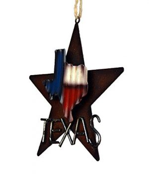 AR Country Store Western Rustic Lone Star 3 D Texas Map Christmas Ornament MetalTin Or Tree Or Wall Hanging 0 2 300x360