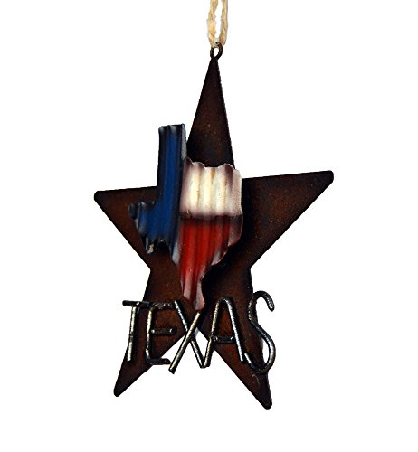 AR Country Store Western Rustic Lone Star 3 D Texas Map Christmas Ornament MetalTin Or Tree Or Wall Hanging 0 2